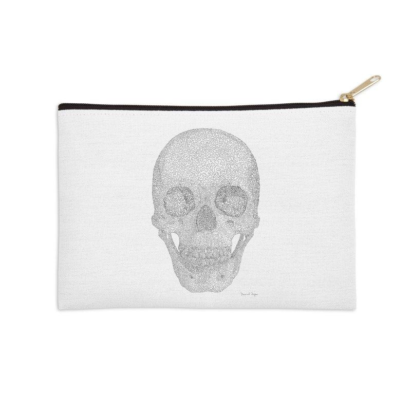 Skull (Black) - One Continuous Line Accessories Zip Pouch by Daniel Dugan's Artist Shop