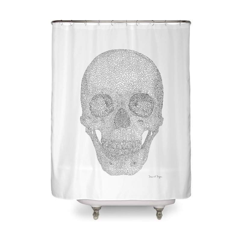 Skull (Black) - One Continuous Line Home Shower Curtain by Daniel Dugan's Artist Shop