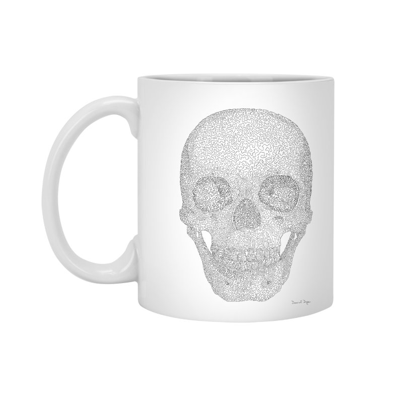 Skull (Black) - One Continuous Line Accessories Mug by Daniel Dugan's Artist Shop