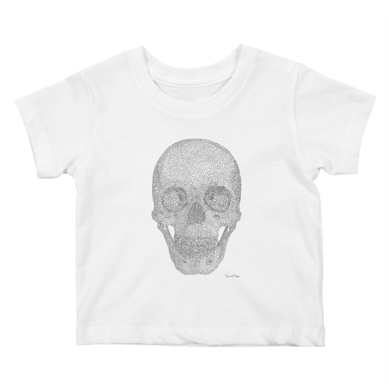 Skull (Black) - One Continuous Line Kids Baby T-Shirt by Daniel Dugan's Artist Shop