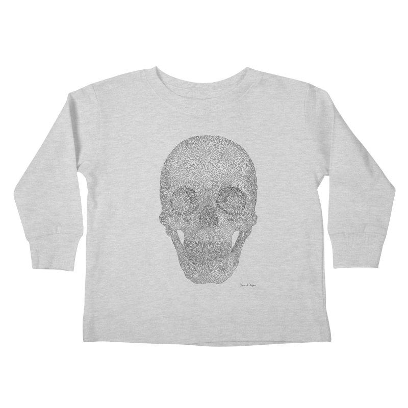 Skull (Black) - One Continuous Line Kids Toddler Longsleeve T-Shirt by Daniel Dugan's Artist Shop