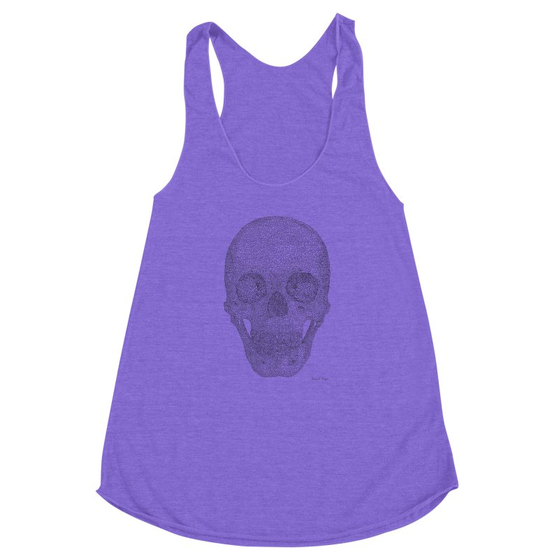 Skull (Black) - One Continuous Line Women's Racerback Triblend Tank by Daniel Dugan's Artist Shop