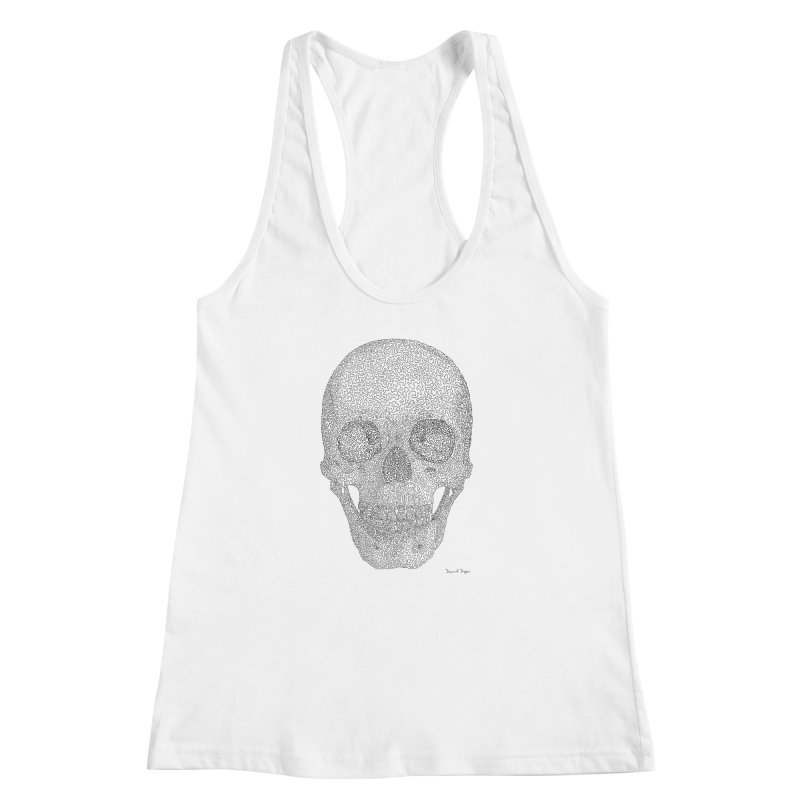 Skull (Black) - One Continuous Line Women's Racerback Tank by Daniel Dugan's Artist Shop