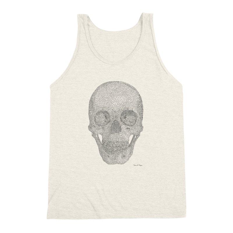 Skull (Black) - One Continuous Line Men's Triblend Tank by Daniel Dugan's Artist Shop