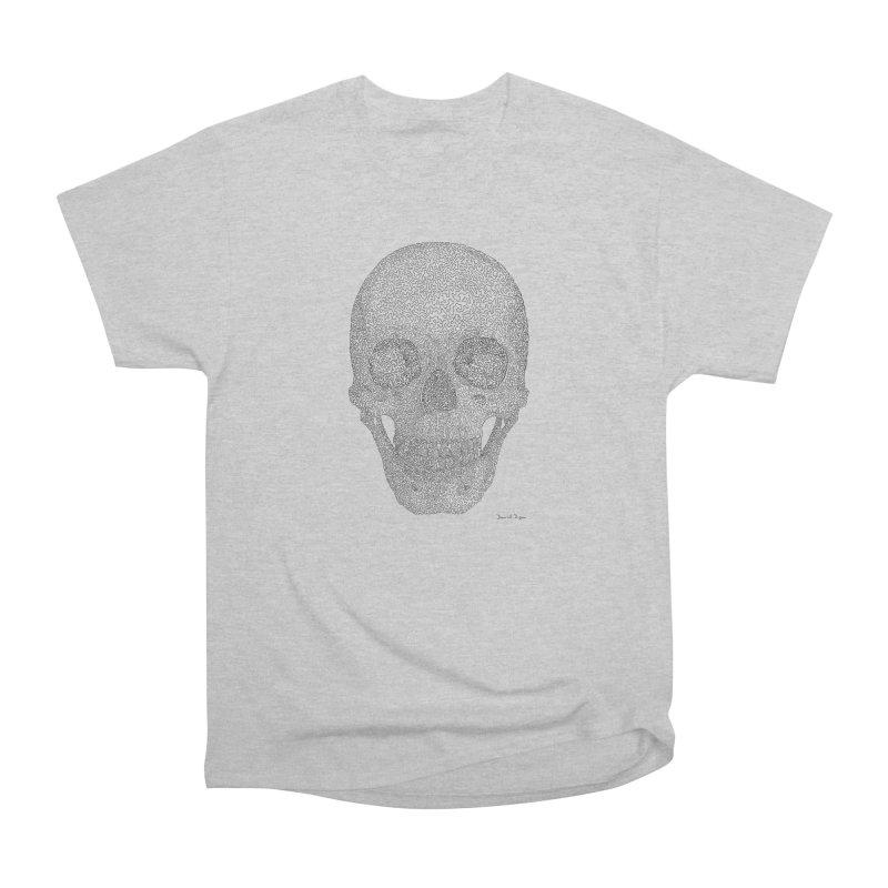 Skull (Black) - One Continuous Line Women's Classic Unisex T-Shirt by Daniel Dugan's Artist Shop