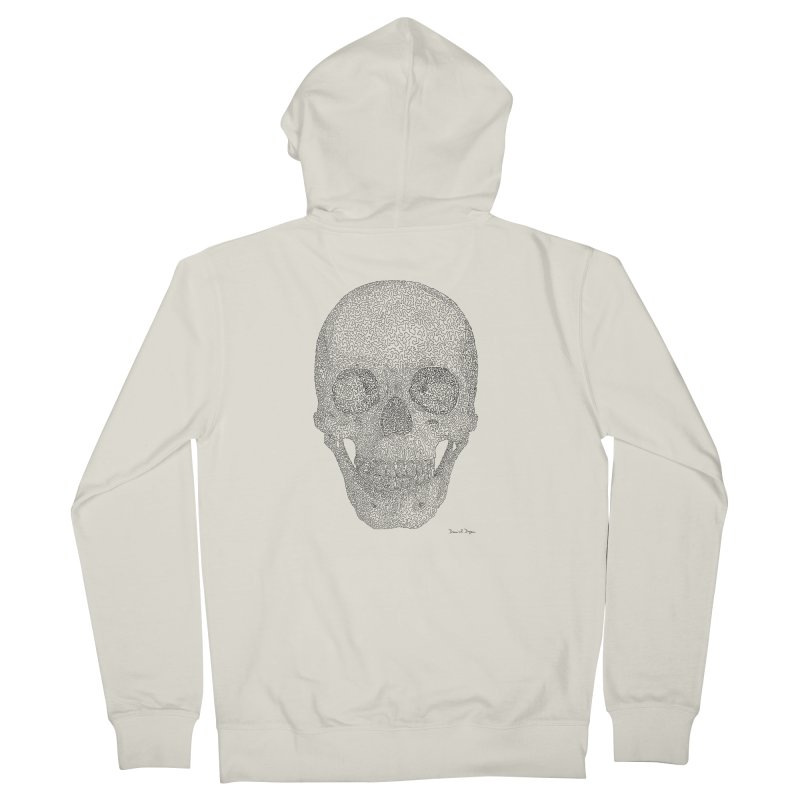 Skull (Black) - One Continuous Line Women's Zip-Up Hoody by Daniel Dugan's Artist Shop