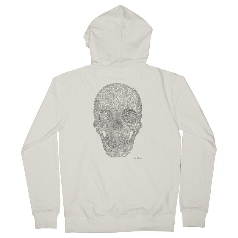 Skull (Black) - One Continuous Line Men's Zip-Up Hoody by Daniel Dugan's Artist Shop