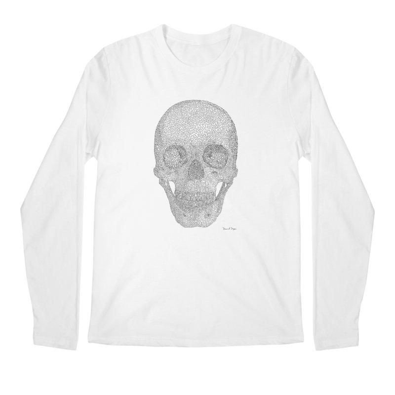 Skull (Black) - One Continuous Line Men's Regular Longsleeve T-Shirt by Daniel Dugan's Artist Shop