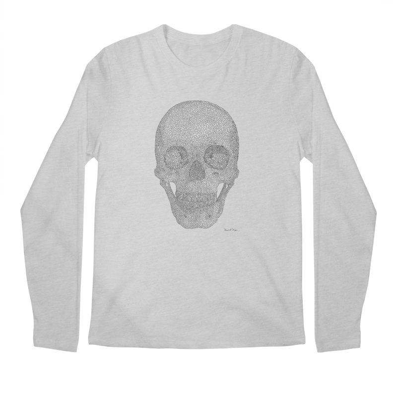 Skull (Black) - One Continuous Line Men's Longsleeve T-Shirt by Daniel Dugan's Artist Shop