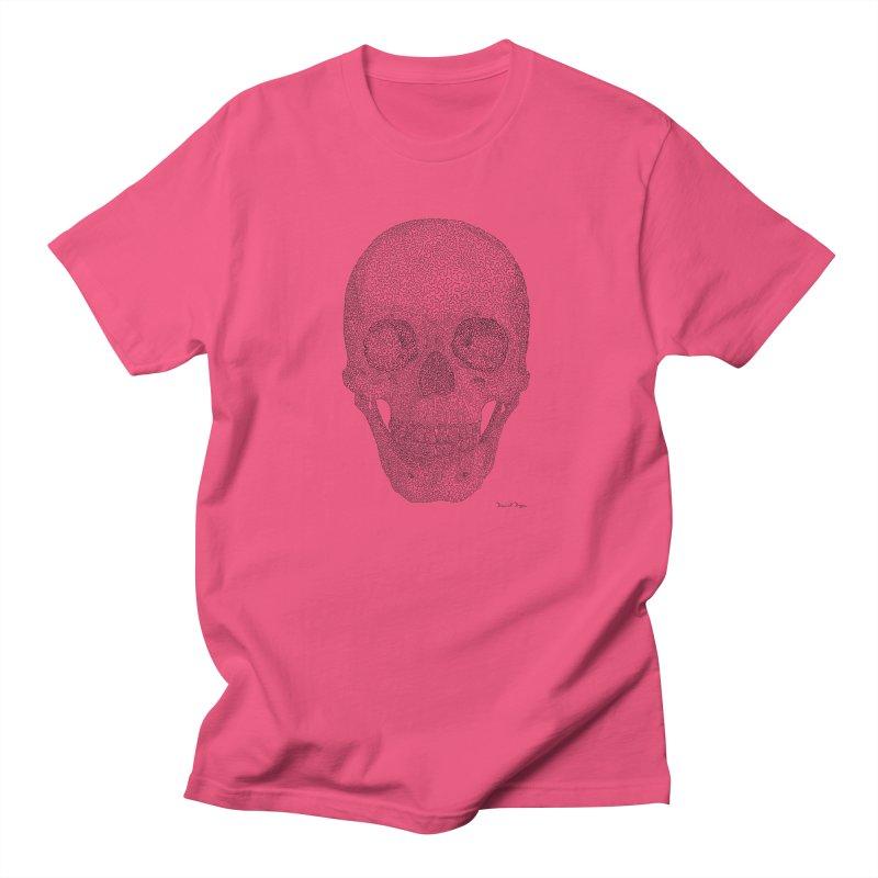 Skull (Black) - One Continuous Line Men's T-Shirt by Daniel Dugan's Artist Shop