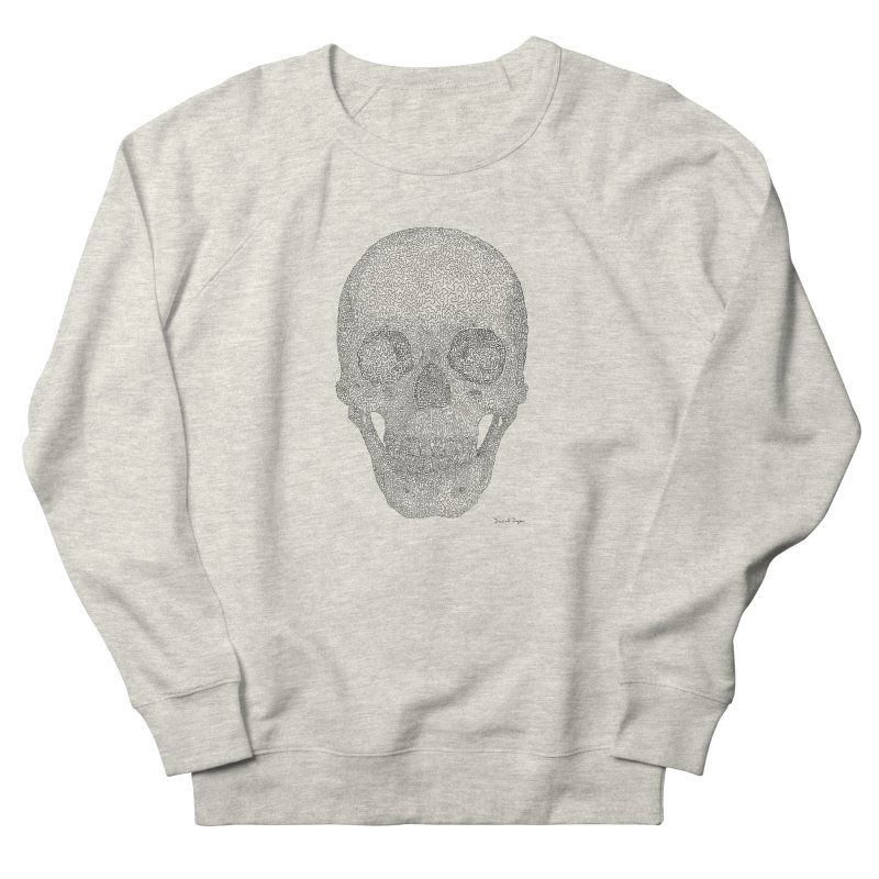 Skull (Black) - One Continuous Line Men's French Terry Sweatshirt by Daniel Dugan's Artist Shop