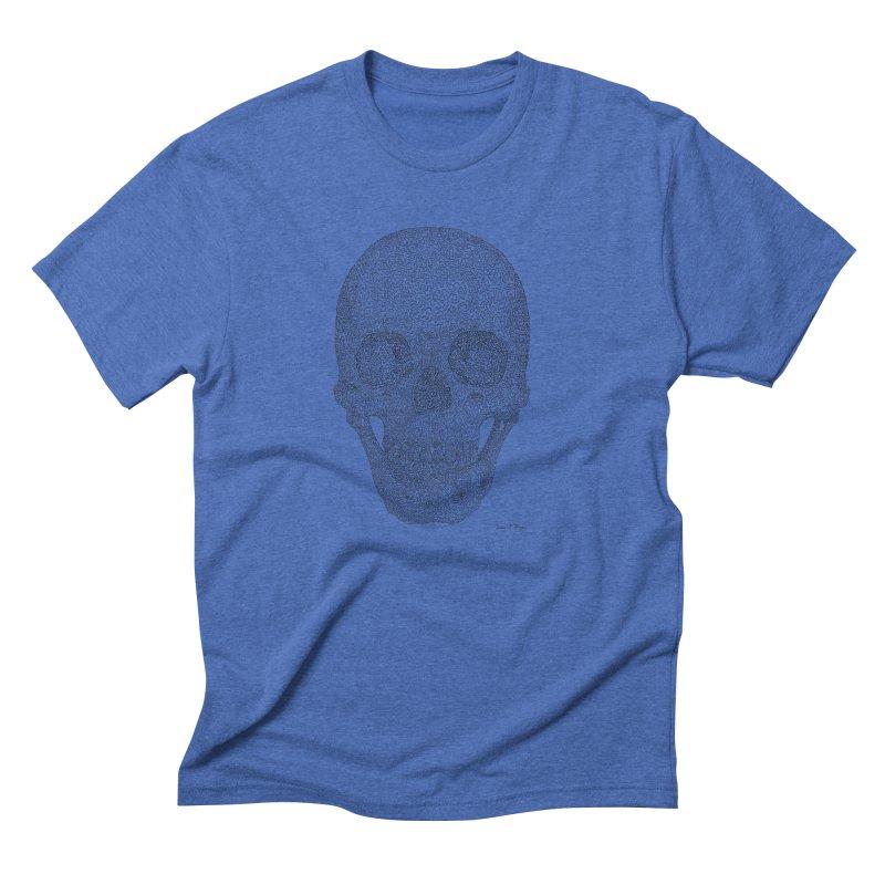 Skull (Black) - One Continuous Line Men's Triblend T-Shirt by Daniel Dugan's Artist Shop