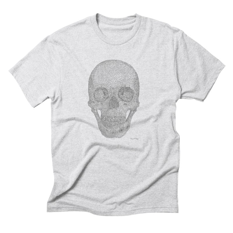 Skull (Black) - One Continuous Line Men's Triblend T-Shirt by Daniel Dugan's Artist Shop