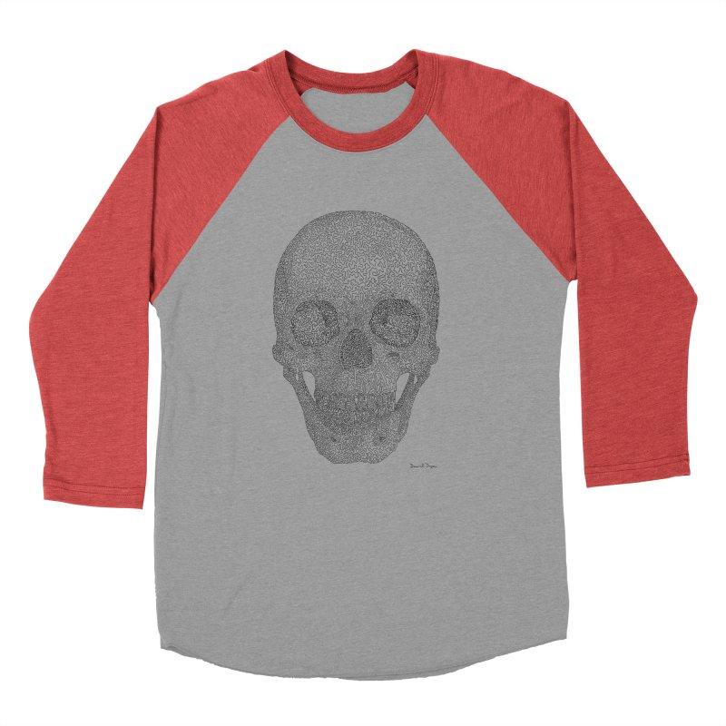 Skull (Black) - One Continuous Line Men's Baseball Triblend T-Shirt by Daniel Dugan's Artist Shop