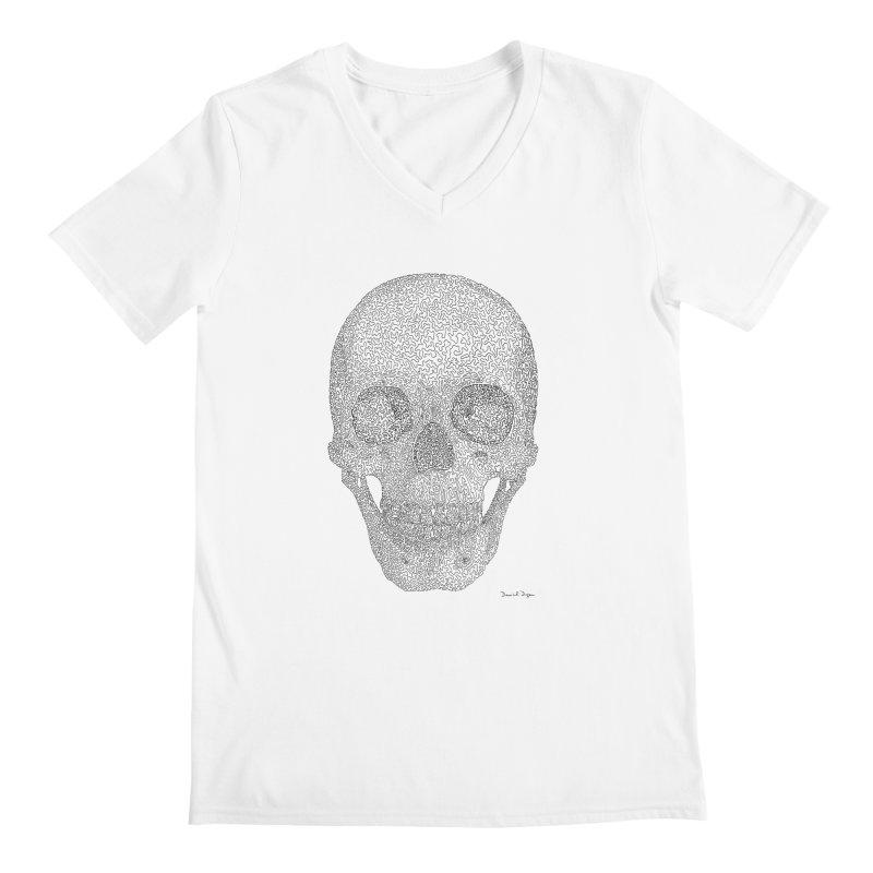 Skull (Black) - One Continuous Line Men's V-Neck by Daniel Dugan's Artist Shop