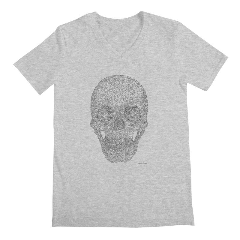 Skull (Black) - One Continuous Line Men's Regular V-Neck by Daniel Dugan's Artist Shop