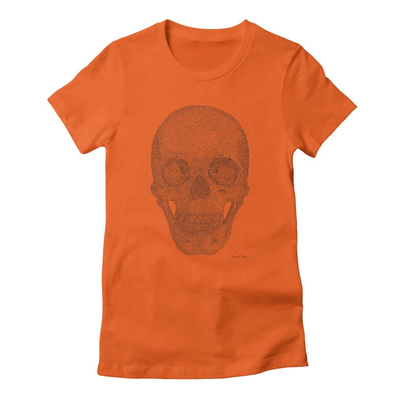 Skull (Black) - One Continuous Line Women's Fitted T-Shirt by Daniel Dugan's Artist Shop
