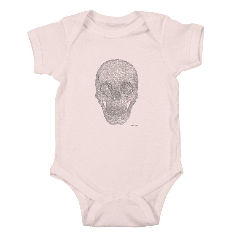 Skull (Black) - One Continuous Line Kids Baby Bodysuit by Daniel Dugan's Artist Shop