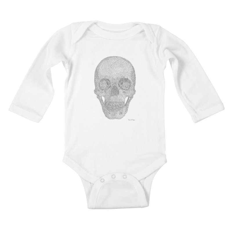 Skull (Black) - One Continuous Line Kids Baby Longsleeve Bodysuit by Daniel Dugan's Artist Shop