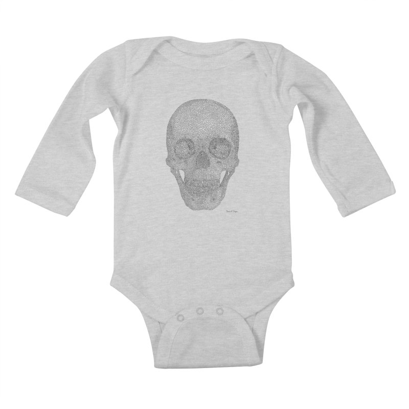 Skull (Black) - One Continuous Line Kids Baby Longsleeve Bodysuit by Daniel Dugan's Artist Shop