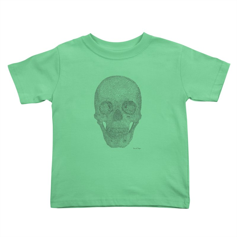 Skull (Black) - One Continuous Line Kids Toddler T-Shirt by Daniel Dugan's Artist Shop