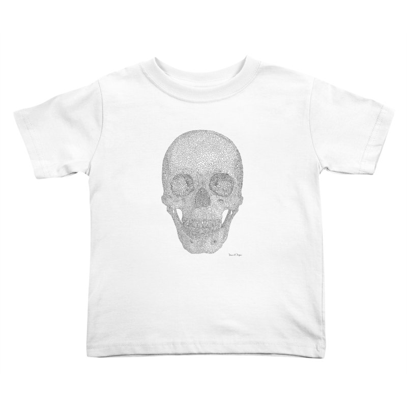 Skull (Black) - One Continuous Line Kids Toddler T-Shirt by Daniel Dugan's Artist Shop