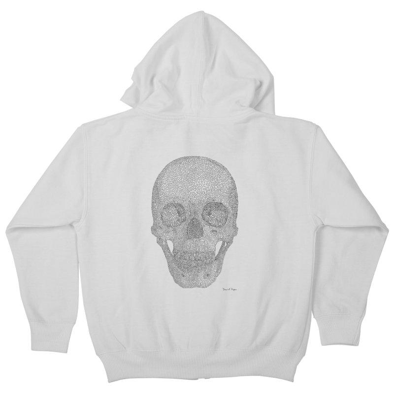Skull (Black) - One Continuous Line Kids Zip-Up Hoody by Daniel Dugan's Artist Shop