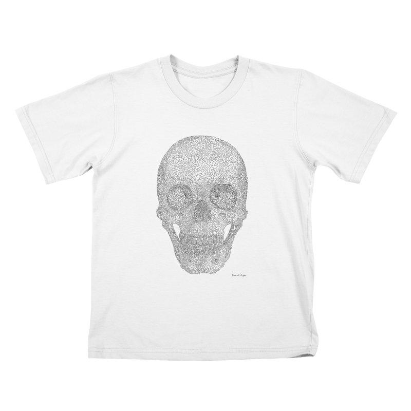 Skull (Black) - One Continuous Line Kids T-Shirt by Daniel Dugan's Artist Shop