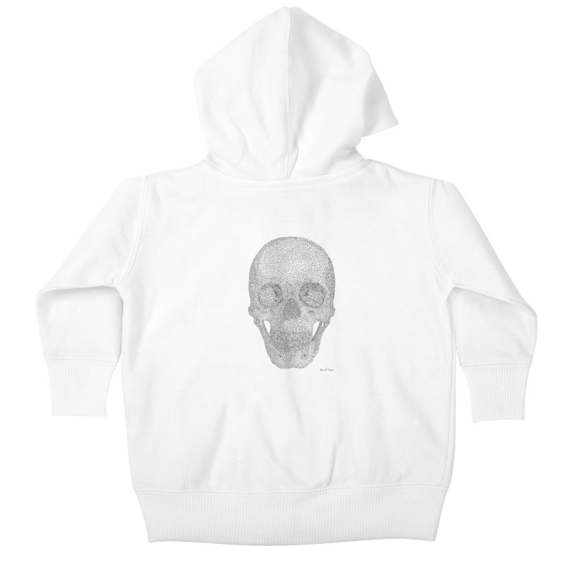 Skull (Black) - One Continuous Line Kids Baby Zip-Up Hoody by Daniel Dugan's Artist Shop
