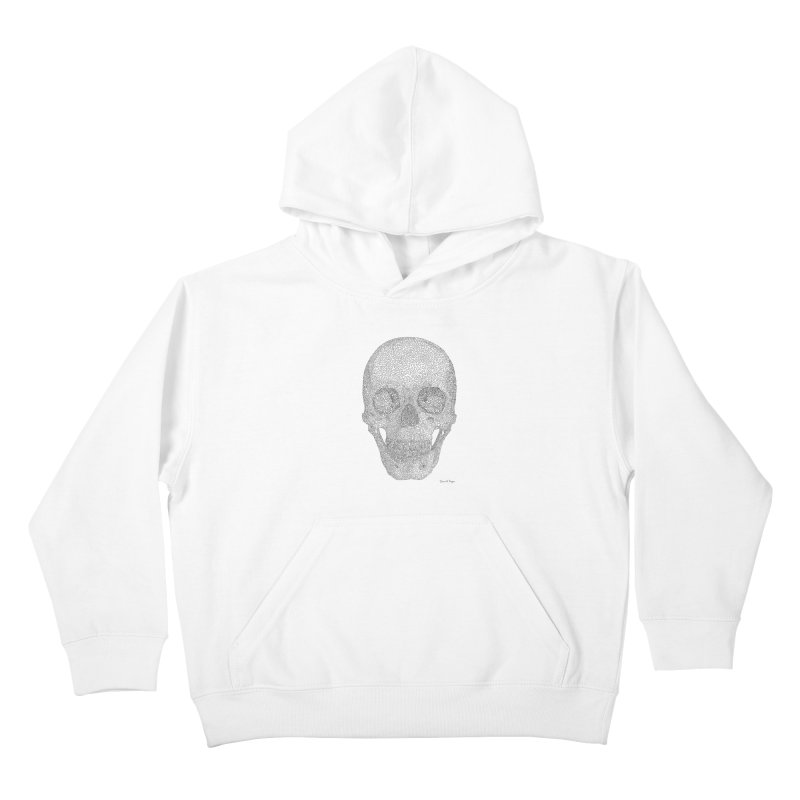 Skull (Black) - One Continuous Line Kids Pullover Hoody by Daniel Dugan's Artist Shop