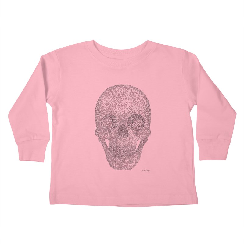 Skull (Black) - One Continuous Line Kids Toddler Longsleeve T-Shirt by Daniel Dugan's Artist Shop
