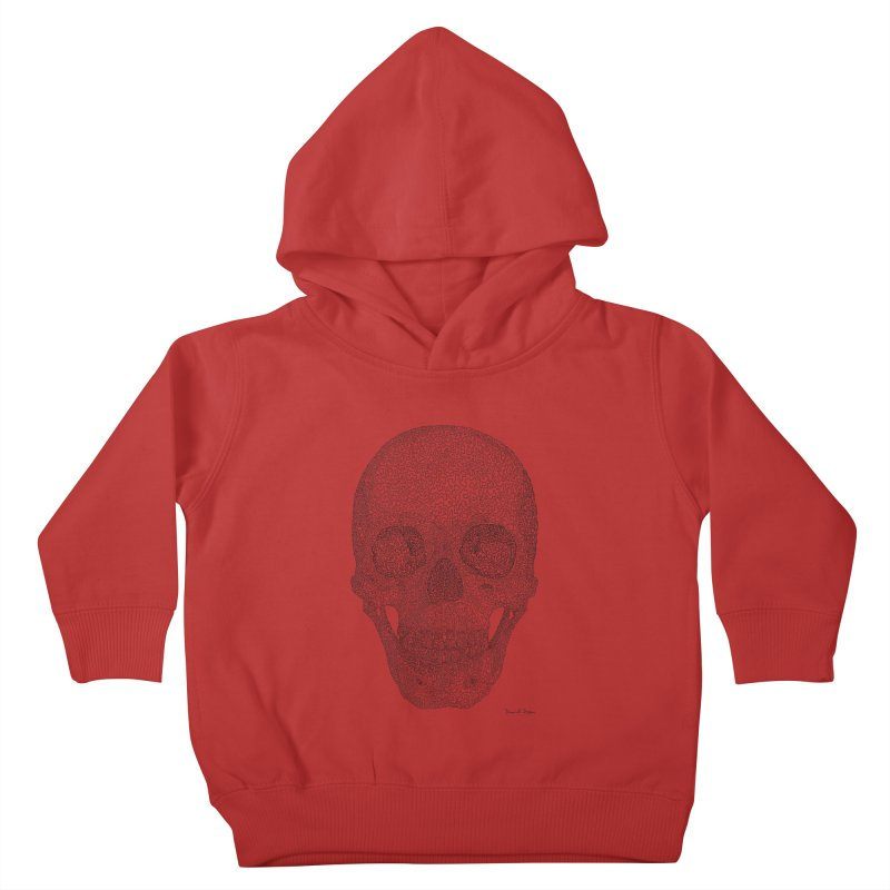 Skull (Black) - One Continuous Line Kids Toddler Pullover Hoody by Daniel Dugan's Artist Shop