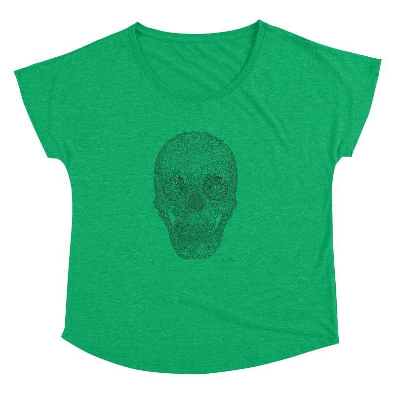 Skull (Black) - One Continuous Line Women's Dolman Scoop Neck by Daniel Dugan's Artist Shop