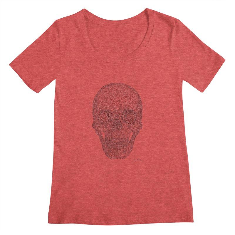 Skull (Black) - One Continuous Line Women's Scoopneck by Daniel Dugan's Artist Shop