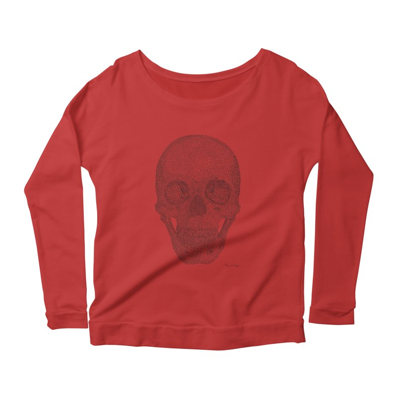 Skull (Black) - One Continuous Line Women's Longsleeve Scoopneck  by Daniel Dugan's Artist Shop