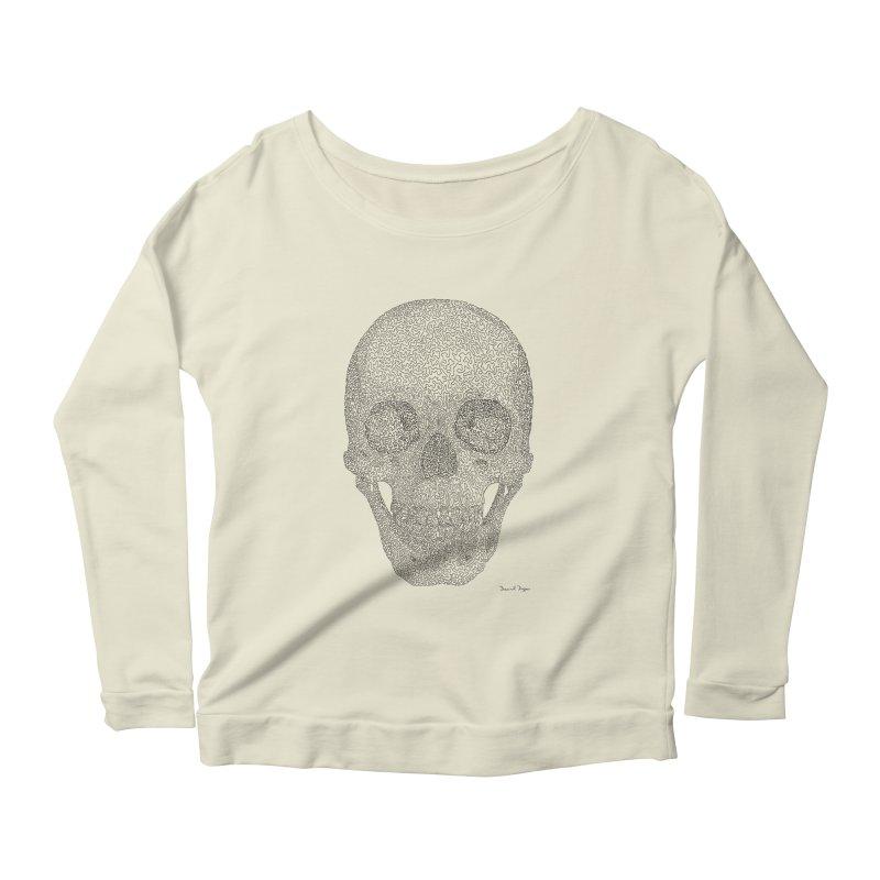Skull (Black) - One Continuous Line Women's Longsleeve Scoopneck  by Daniel Dugan's Artist Shop