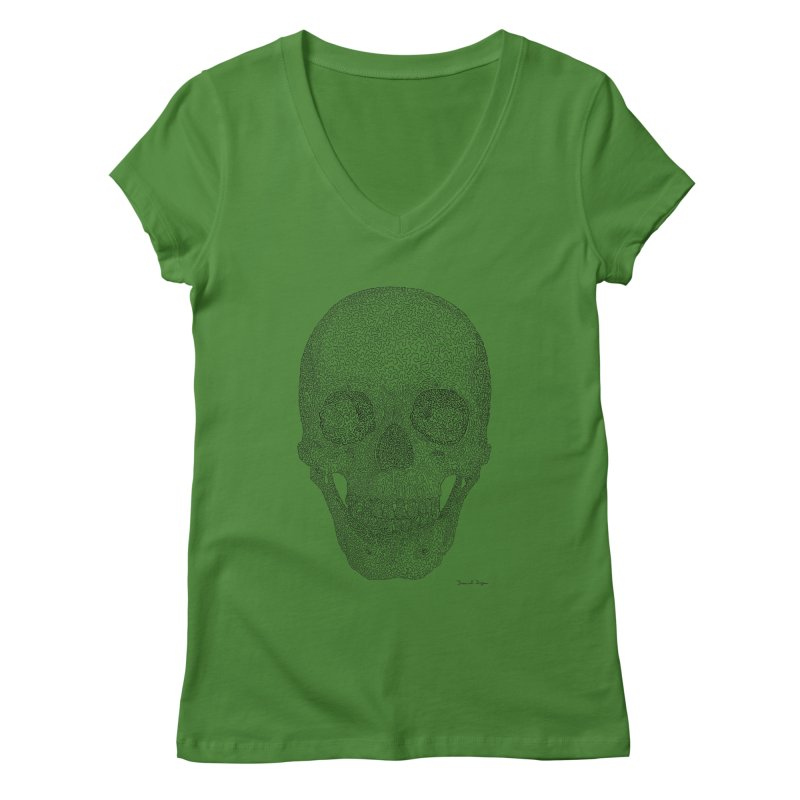 Skull (Black) - One Continuous Line Women's V-Neck by Daniel Dugan's Artist Shop