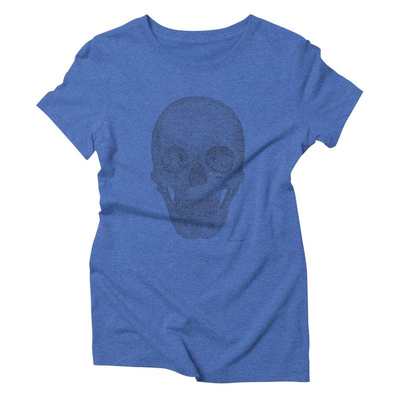 Skull (Black) - One Continuous Line Women's Triblend T-Shirt by Daniel Dugan's Artist Shop