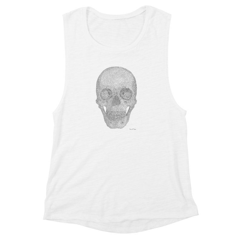 Skull (Black) - One Continuous Line Women's Muscle Tank by Daniel Dugan's Artist Shop