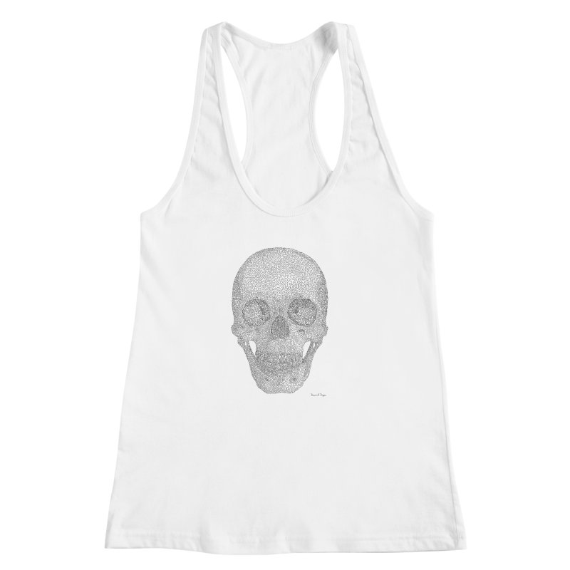 Skull (Black) - One Continuous Line Women's Racerback Tank by Daniel Dugan's Artist Shop