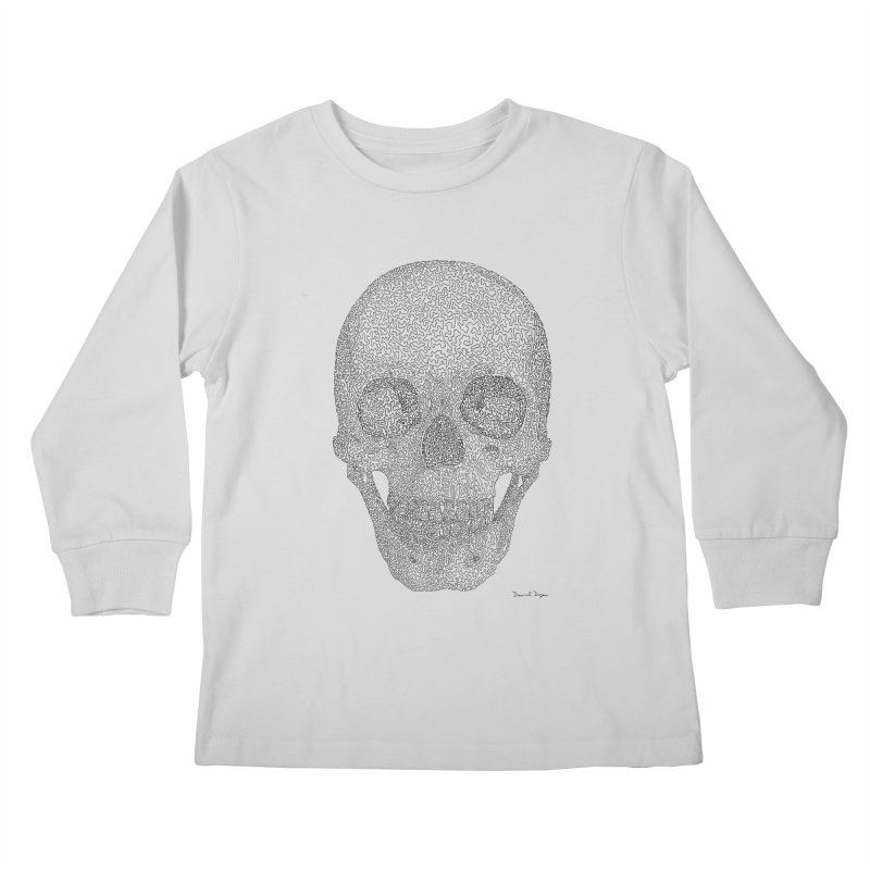 Skull (Black) - One Continuous Line Kids Longsleeve T-Shirt by Daniel Dugan's Artist Shop