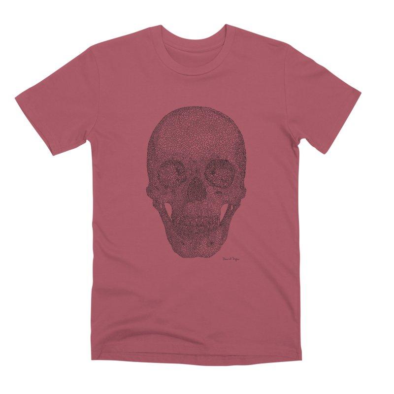 Skull - One Continuous Line Men's Premium T-Shirt by Daniel Dugan's Artist Shop