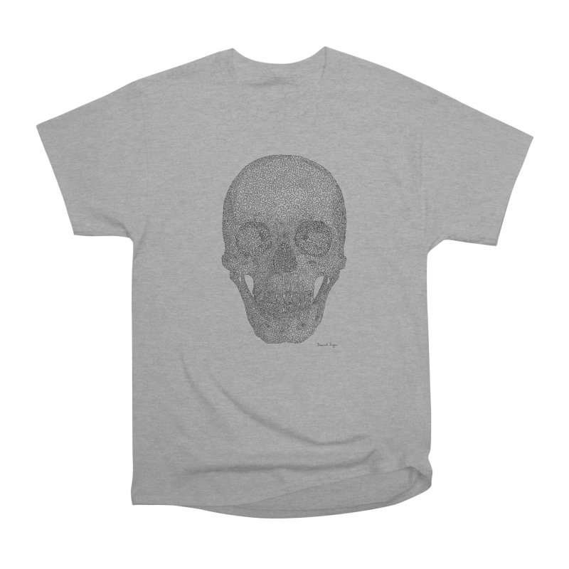 Skull - One Continuous Line Men's Heavyweight T-Shirt by Daniel Dugan's Artist Shop