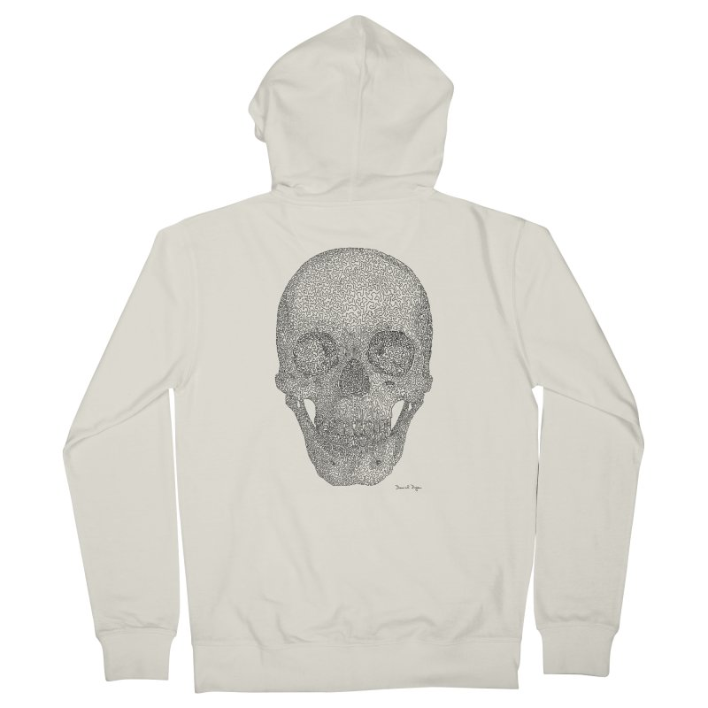 Skull - One Continuous Line Women's French Terry Zip-Up Hoody by Daniel Dugan's Artist Shop