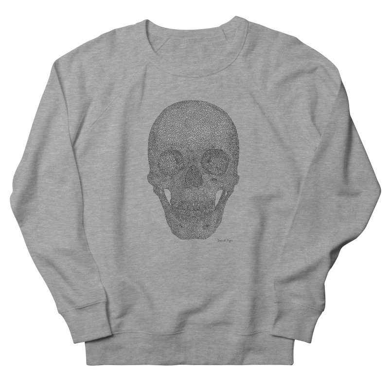 Skull - One Continuous Line Men's French Terry Sweatshirt by Daniel Dugan's Artist Shop