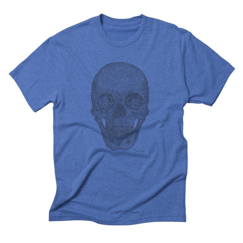Skull - One Continuous Line Men's Triblend T-Shirt by Daniel Dugan's Artist Shop