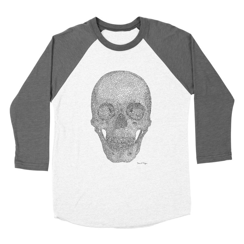 Skull - One Continuous Line Men's Baseball Triblend Longsleeve T-Shirt by Daniel Dugan's Artist Shop