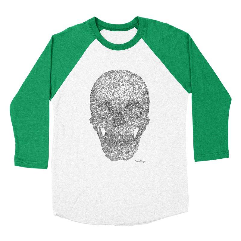 Skull - One Continuous Line Men's Baseball Triblend Longsleeve T-Shirt by Daniel Dugan's Artist Shop