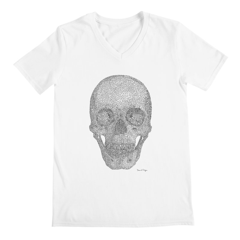Skull - One Continuous Line Men's Regular V-Neck by Daniel Dugan's Artist Shop