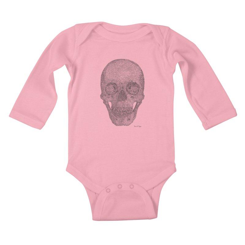 Skull - One Continuous Line Kids Baby Longsleeve Bodysuit by Daniel Dugan's Artist Shop